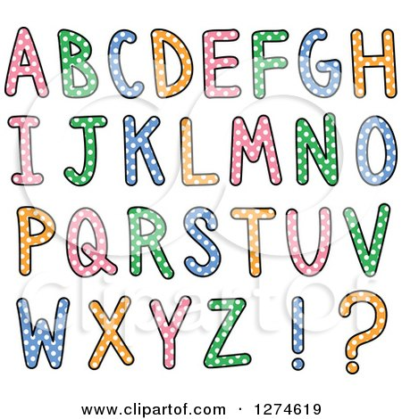 Clipart of Colorful Capital Alphabet Letters with Polka Dots - Royalty Free Vector Illustration by Prawny