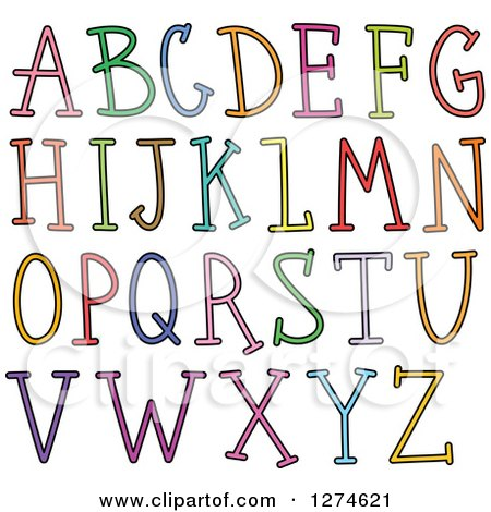 Clipart of Colorful Capital Stick Alphabet Letters - Royalty Free Vector Illustration by Prawny