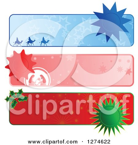 Clipart of Christmas Website Banner Headers with Seals - Royalty Free Vector Illustration by Prawny