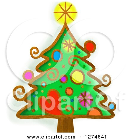 Clipart of a Whimsical Christmas Tree - Royalty Free Illustration by Prawny