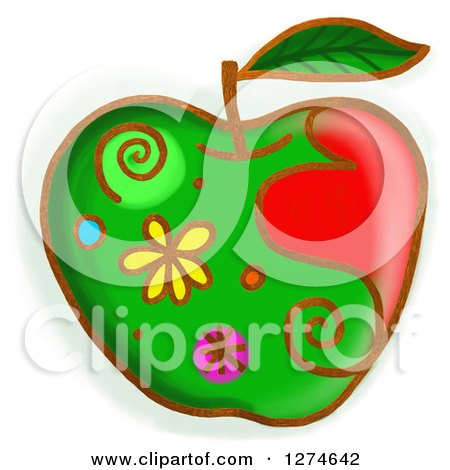 Clipart of a Whimsical Green Apple - Royalty Free Illustration by Prawny