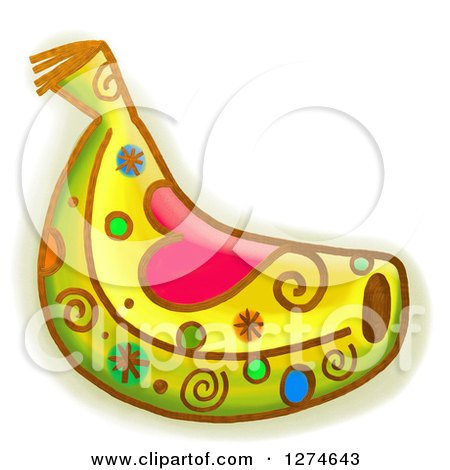 Clipart of a Whimsical Banana - Royalty Free Illustration by Prawny