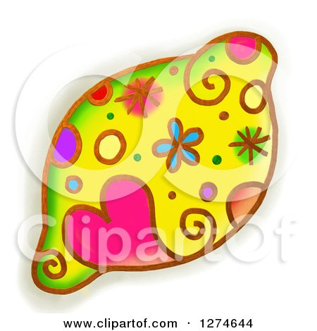 Clipart of a Whimsical Lemon - Royalty Free Illustration by Prawny