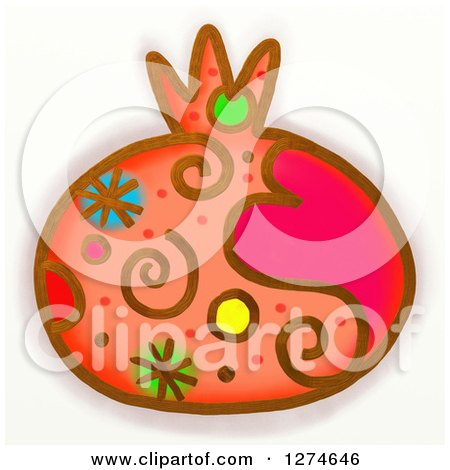 Clipart of a Whimsical Pomegranate - Royalty Free Illustration by Prawny