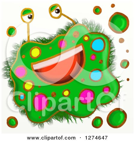 Clipart of a Whimsical Happy Green Germ - Royalty Free Illustration by Prawny