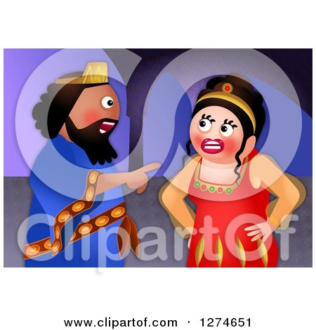 Clipart of a Jewish Feast of Purim with the Angry Queen Vashti - Royalty Free Illustration by Prawny