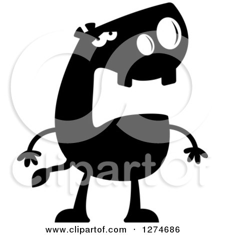 Clipart of a Black and White Silhouetted Depressed Hippo - Royalty Free Vector Illustration by Cory Thoman