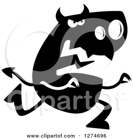 Clipart of a Black and White Silhouetted Devil Chasing - Royalty Free Vector Illustration by Cory Thoman