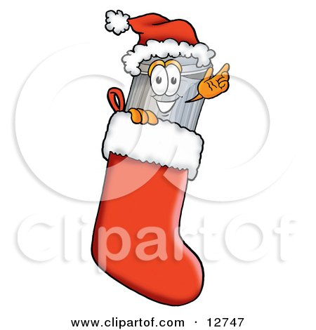 Clipart Picture of a Garbage Can Mascot Cartoon Character Wearing a Santa Hat Inside a Red Christmas Stocking by Toons4Biz
