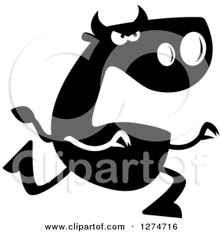 Clipart of a Black and White Silhouetted Bull Chasing - Royalty Free Vector Illustration by Cory Thoman