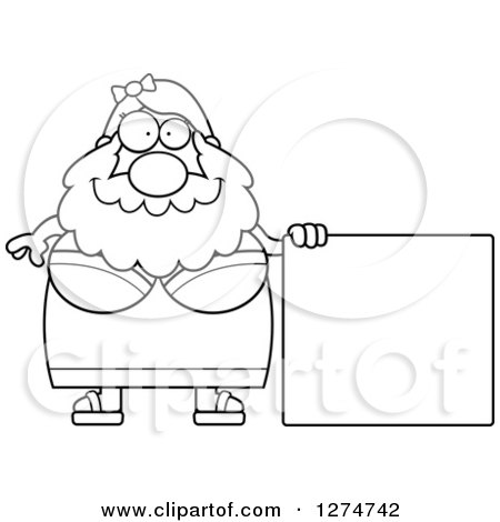 Clipart of a Black and White Chubby Bearded Lady Circus Freak with a Blank Sign - Royalty Free Vector Illustration by Cory Thoman