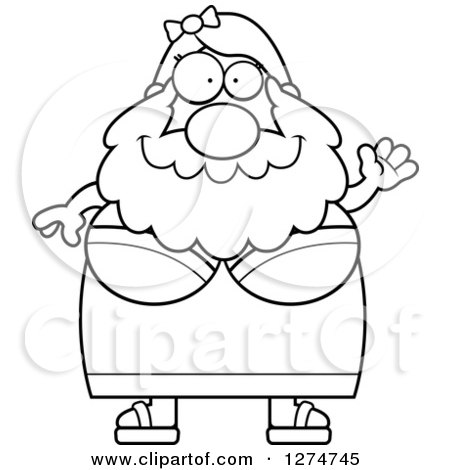Clipart of a Black and White Chubby Friendly Waving Bearded Lady Circus Freak - Royalty Free Vector Illustration by Cory Thoman