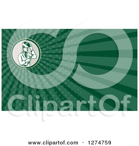 Clipart of a Retro Welding Scientist and Green Rays Business Card Design - Royalty Free Illustration by patrimonio
