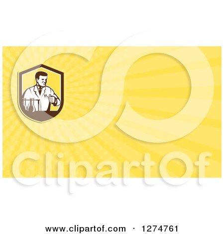 Clipart of a Retro Scientist in a Laboratory and Yellow Rays Business Card Design - Royalty Free Illustration by patrimonio