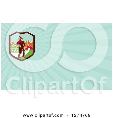 Clipart of a Retro Woodcut Famer and Pasture and Rays Business Card Design - Royalty Free Illustration by patrimonio