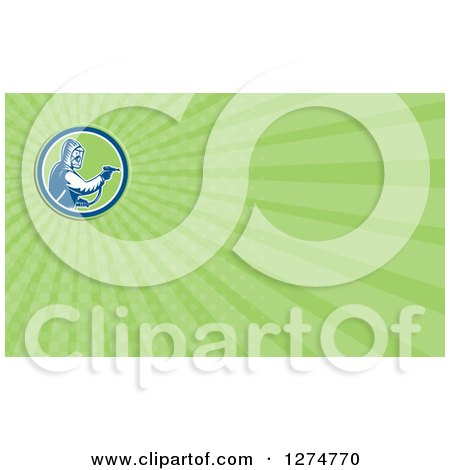 Clipart of a Retro Woodcut Pest Control Exterminator Spraying and Green Rays Business Card Design - Royalty Free Illustration by patrimonio