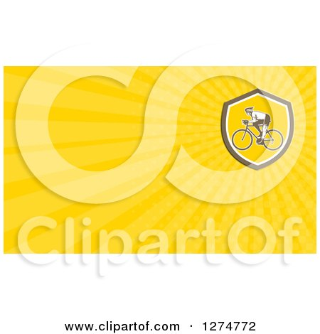 Clipart of a Retro Cyclist and Yellow Rays Business Card Design - Royalty Free Illustration by patrimonio