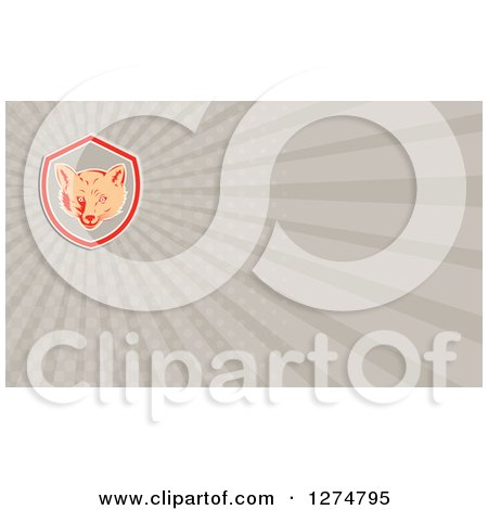 Clipart of a Retro Fox and Rays Business Card Design - Royalty Free Illustration by patrimonio