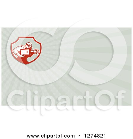 Clipart of a Retro Cameraman and Rays Business Card Design - Royalty Free Illustration by patrimonio