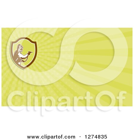Clipart of a Retro Woodcut Pest Control Exterminator Spraying and Green Rays Business Card Design 2 - Royalty Free Illustration by patrimonio