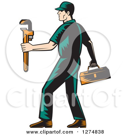 Retro Woodcut Male Plumber Walking with a Tool Box and Monkey Wrench Posters, Art Prints