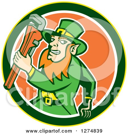 Clipart of a Leprechaun Plumber Holding a Monkey Wrench in a Yellow Green White and Orange Circle - Royalty Free Vector Illustration by patrimonio