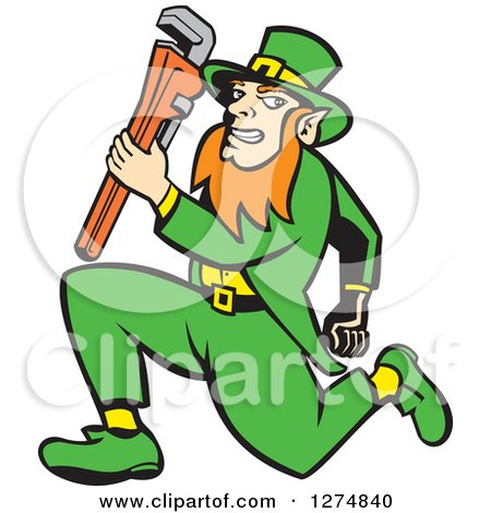 Clipart of a Leprechaun Plumber Holding a Monkey Wrench and Running - Royalty Free Vector Illustration by patrimonio