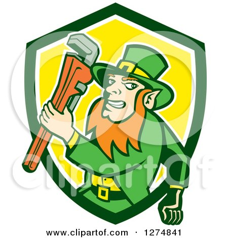 Clipart of a Leprechaun Plumber Holding a Monkey Wrench in a Green White and Yellow Shield - Royalty Free Vector Illustration by patrimonio