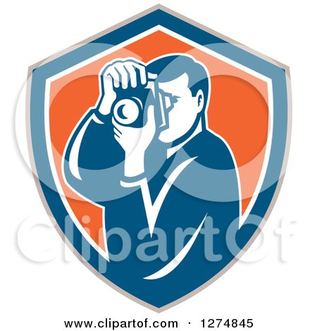 Clipart of a Retro Male Photographer Taking Pictures in a Taupe Blue White and Orange Shield - Royalty Free Vector Illustration by patrimonio