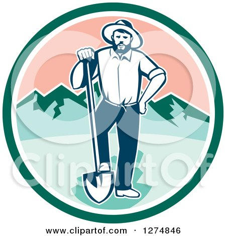 Clipart of a Retro Male Miner Prospector Resting a Foot on a Shovel in a Green White and Pink Circle - Royalty Free Vector Illustration by patrimonio