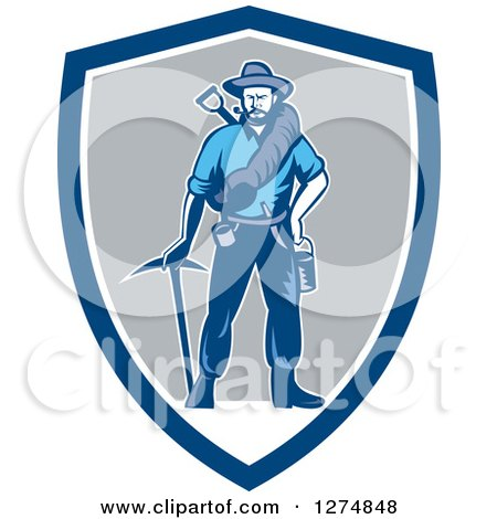 Clipart of a Retro Woodcut Miner Prospector Man with Gear in a Blue White and Gray Shield - Royalty Free Vector Illustration by patrimonio