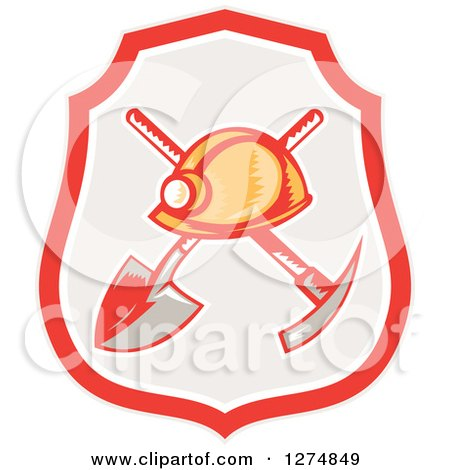 Clipart of a Retro Woodcut Miner Hat over a Crossed Shovel and Pickaxe in a Shield - Royalty Free Vector Illustration by patrimonio