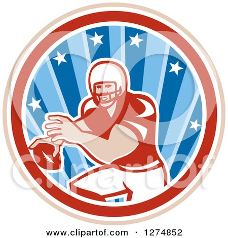Clipart of a Retro Male American Football Player Throwing in a Tan White Red and Blue Star Circle - Royalty Free Vector Illustration by patrimonio