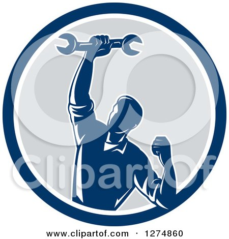 Clipart of a Retro Mechanic Man Pumping His Fist and a Spanner Wrench in a Blue White and Gray Circle - Royalty Free Vector Illustration by patrimonio