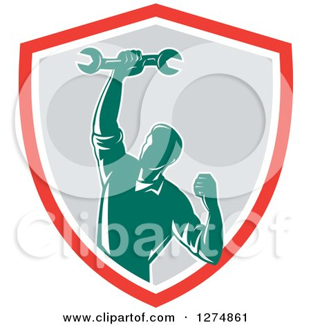Clipart of a Retro Mechanic Man Pumping His Fist and a Spanner Wrench in a Red White and Gray Shield - Royalty Free Vector Illustration by patrimonio