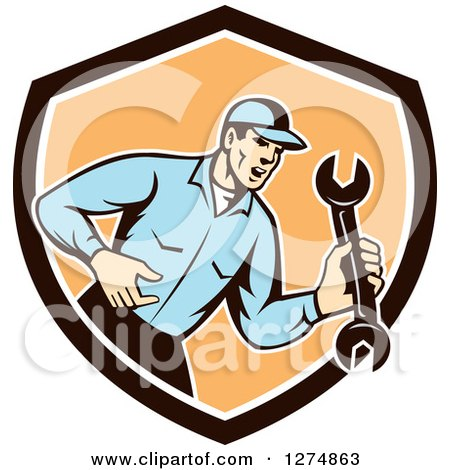 Clipart of a Retro Mechanic Man Shouting and Holding a Spanner Wrench in a Brown White and Orange Shield - Royalty Free Vector Illustration by patrimonio