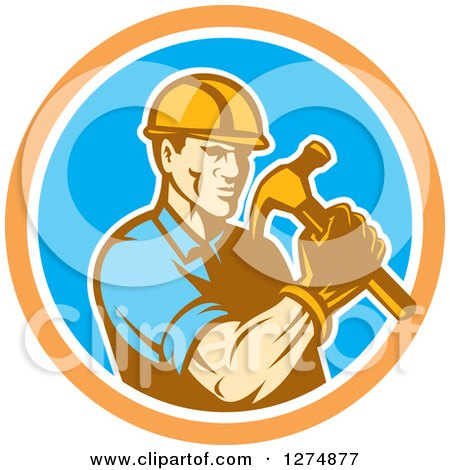 Retro Male Builder Construction Worker Holding a Hammer in an Orange White and Blue Circle Posters, Art Prints
