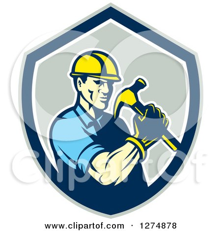 Retro Male Builder Construction Worker Holding a Hammer in a Gray Blue and White Shield Posters, Art Prints