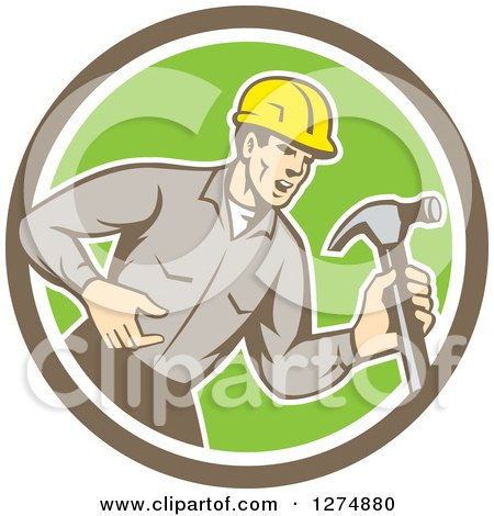 Retro Male Builder Shouting and Holding a Hammer in a Taupe White and Green Circle Posters, Art Prints