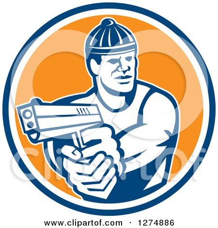 Clipart of a Retro Male Robber Pointing a Gun in a Blue White and Orange Circle - Royalty Free Vector Illustration by patrimonio