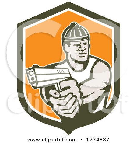 Clipart of a Retro Male Robber Pointing a Gun in a Brown White and Orange Shield - Royalty Free Vector Illustration by patrimonio