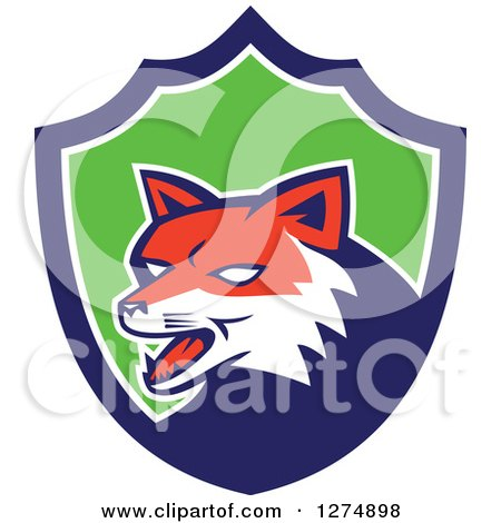 Clipart of a Retro Fox Head in a Blue White and Green Shield - Royalty Free Vector Illustration by patrimonio