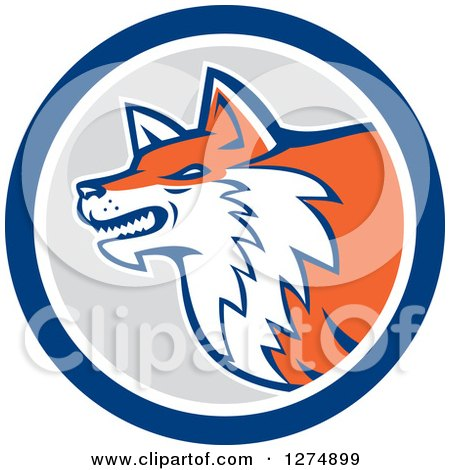 Clipart of a Retro Fox Head in Profile Inside a Blue White and Gray Circle - Royalty Free Vector Illustration by patrimonio