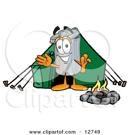 Clipart Picture of a Garbage Can Mascot Cartoon Character Camping With a Tent and Fire by Toons4Biz