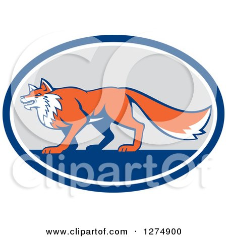 Clipart of a Retro Fox in Profile Inside a Blue White and Gray Oval - Royalty Free Vector Illustration by patrimonio