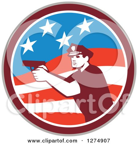 Clipart of a Retro Male Police Officer Aiming a Firearm in an American Flag Circle - Royalty Free Vector Illustration by patrimonio