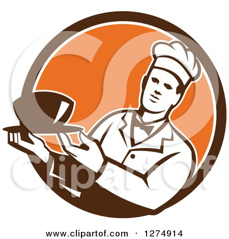 Clipart of a Male Chef Holding a Bowl of Soup in a Brown White and Orange Circle - Royalty Free Vector Illustration by patrimonio