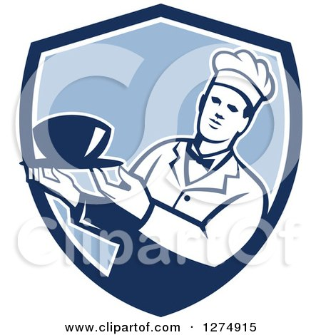 Clipart of a Male Chef Holding a Bowl of Soup in a Blue and White Shield - Royalty Free Vector Illustration by patrimonio