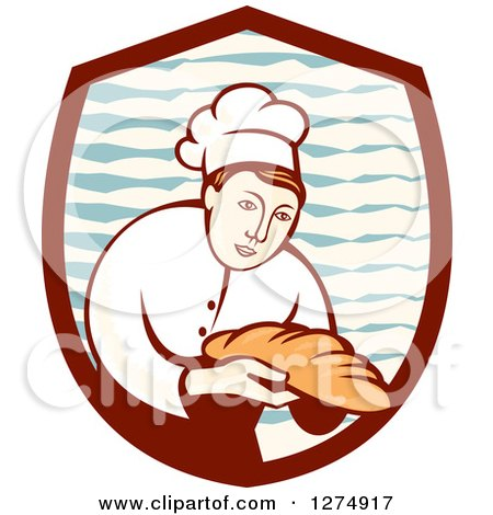 Clipart of a Retro Female Baker Holding out Bread in a Shield - Royalty Free Vector Illustration by patrimonio