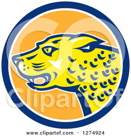 Clipart of a Jaguar Cat in a Blue White and Orange Circle - Royalty Free Vector Illustration by patrimonio
